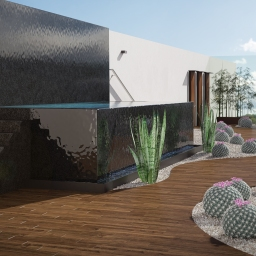 Zen garden with water wall and outdoor hydrotherapy, steam temezcal and showers