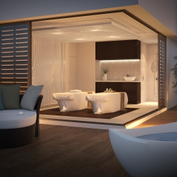 Couples treatment room with outdoor terrace area and couples lounge and bathtub